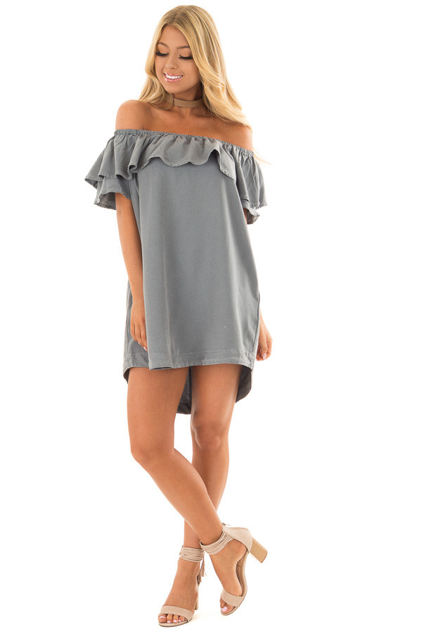 Dusty Teal Off the Shoulder Dress with Pockets front full body
