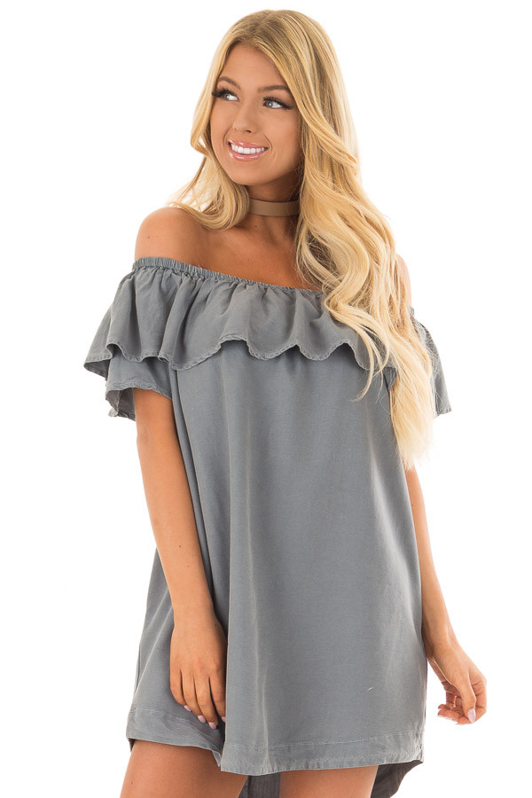 Dusty Teal Off the Shoulder Dress with Pockets front close up