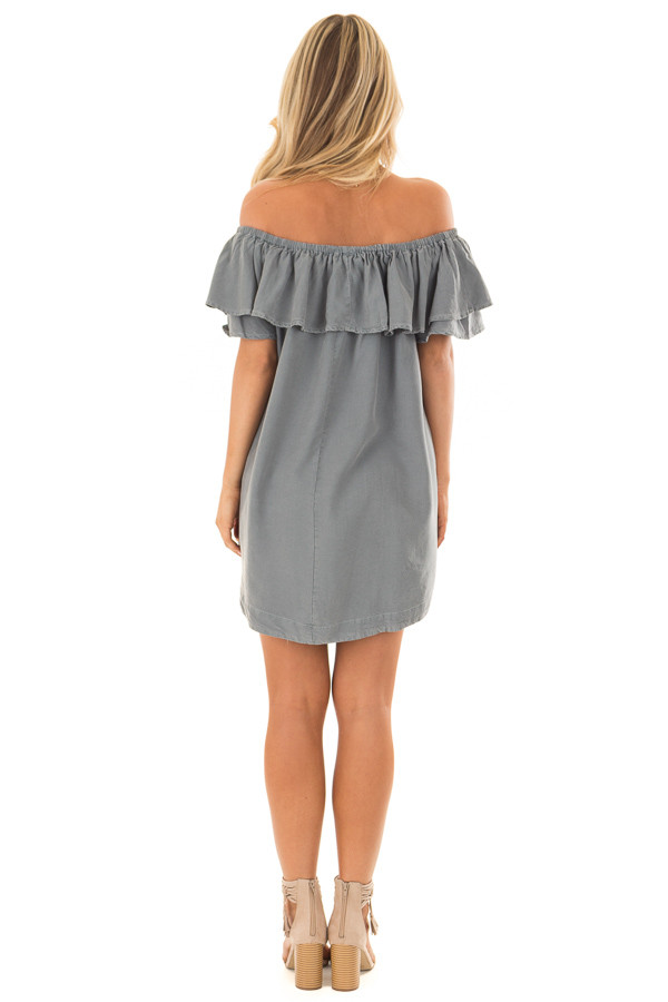 Dusty Teal Off the Shoulder Dress with Pockets back full body