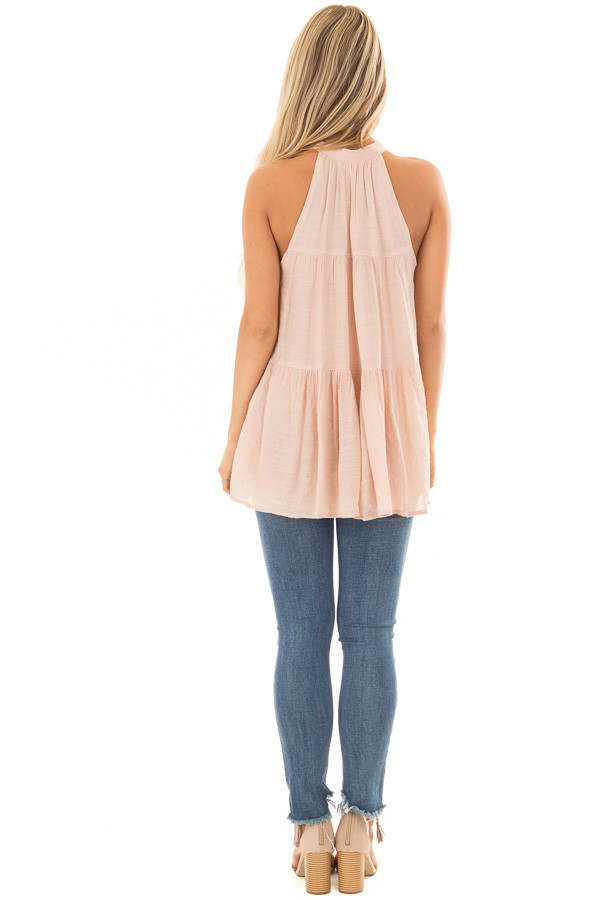 Blush Tiered Tank Top with Tassel Tie Neckline back full body