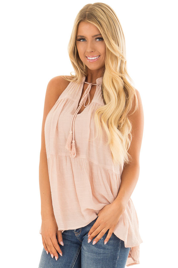 Blush Tiered Tank Top with Tassel Tie Neckline front close up