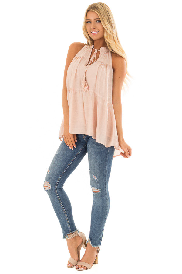 Blush Tiered Tank Top with Tassel Tie Neckline front full body