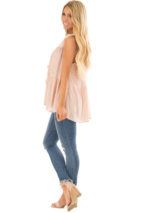 Blush Tiered Tank Top with Tassel Tie Neckline side full body