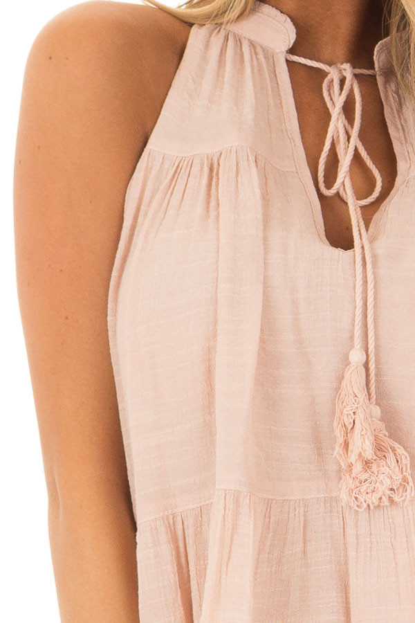 Blush Tiered Tank Top with Tassel Tie Neckline detail