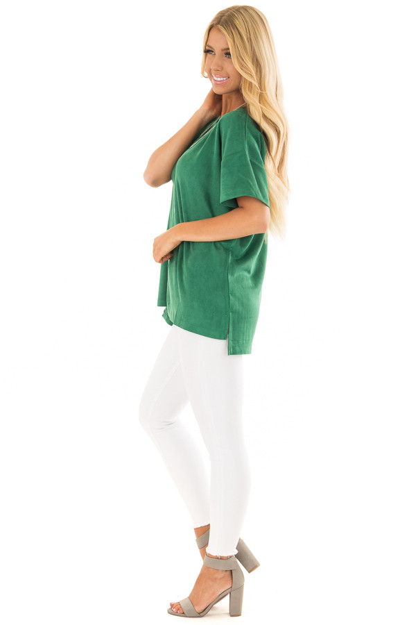 Kelly Green Faux Suede Super Soft Top side full body