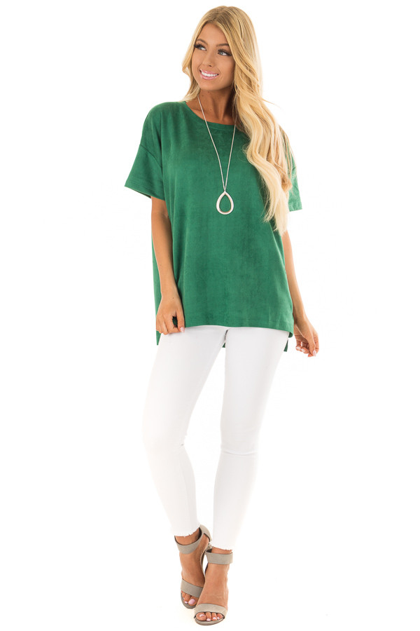 Kelly Green Faux Suede Super Soft Top front full body