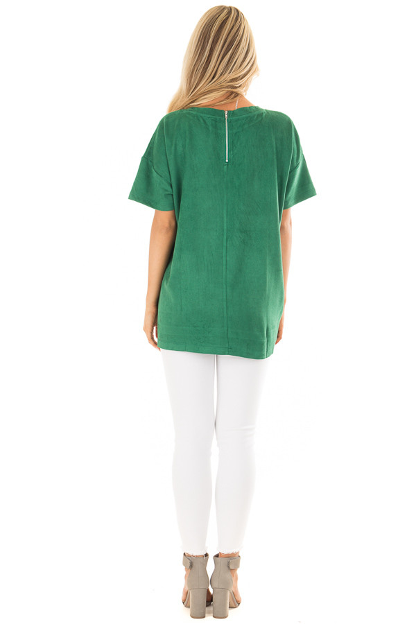 Kelly Green Faux Suede Super Soft Top back full body