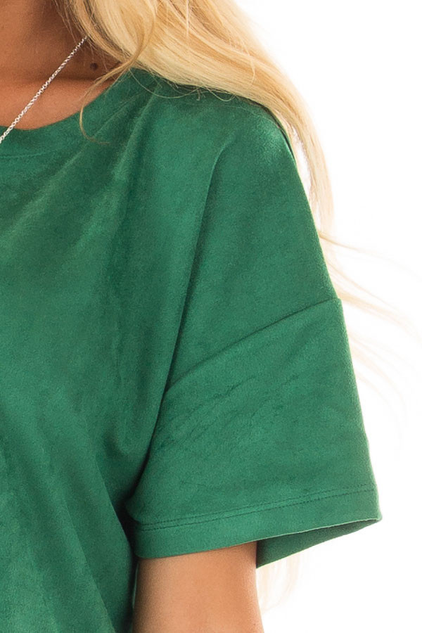 Kelly Green Faux Suede Super Soft Top detail