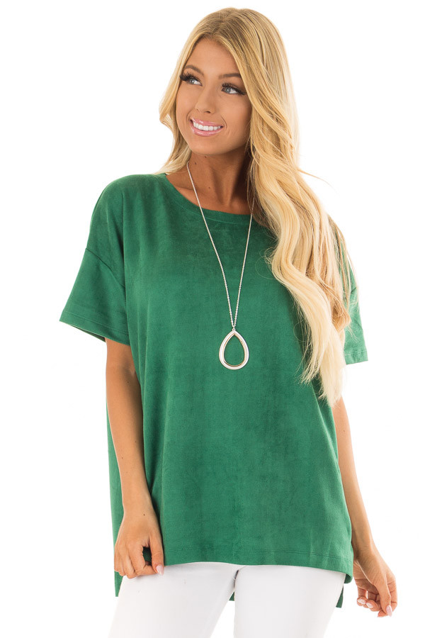 Kelly Green Faux Suede Super Soft Top front close up