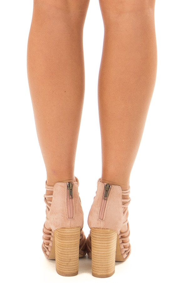 Rose Faux Suede Strappy High Heels with Knot Details back view