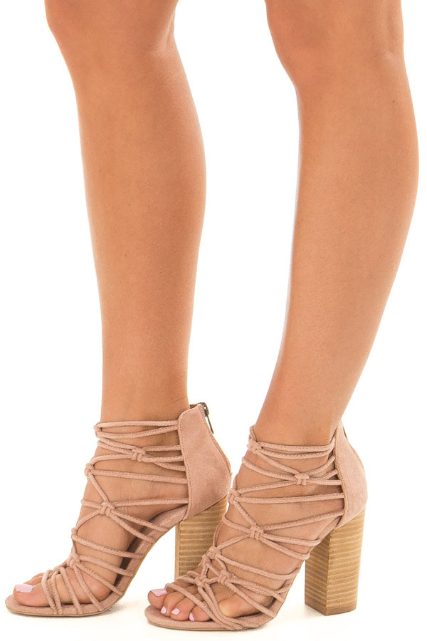 Rose Faux Suede Strappy High Heels with Knot Details front side view