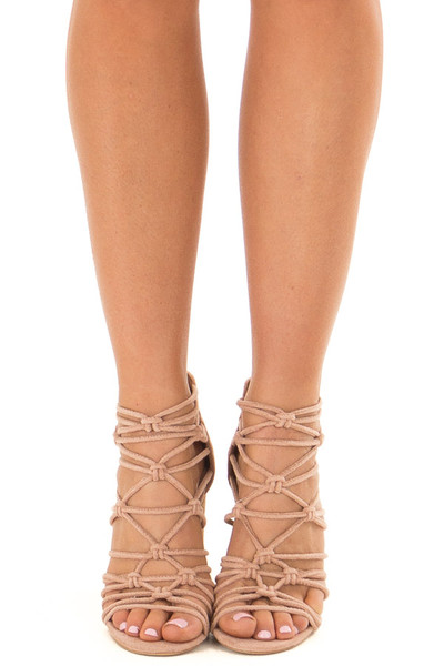 Rose Faux Suede Strappy High Heels with Knot Details front view
