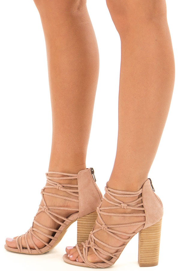 Rose Faux Suede Strappy High Heels with Knot Details side view