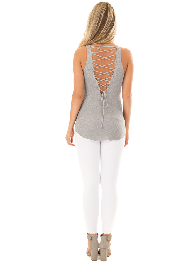 Grey Knit Tank Top with Lace Up Back back full body