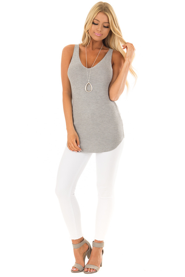 Grey Knit Tank Top with Lace Up Back front full body