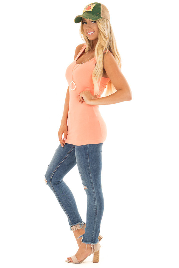 Bright Coral Seamless Long Tank Top side full body