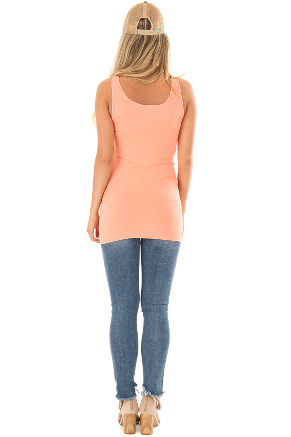 Bright Coral Seamless Long Tank Top back full body