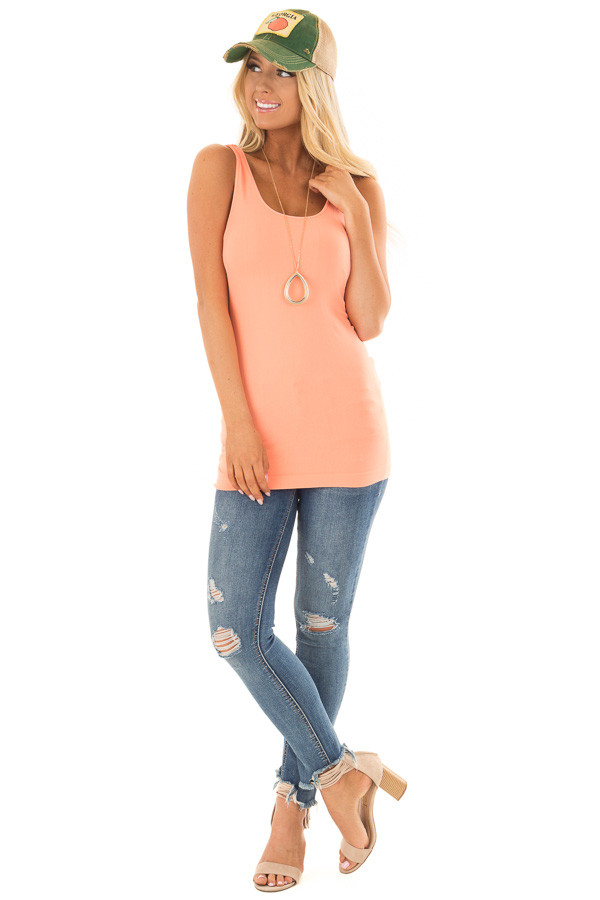 Bright Coral Seamless Long Tank Top front full body