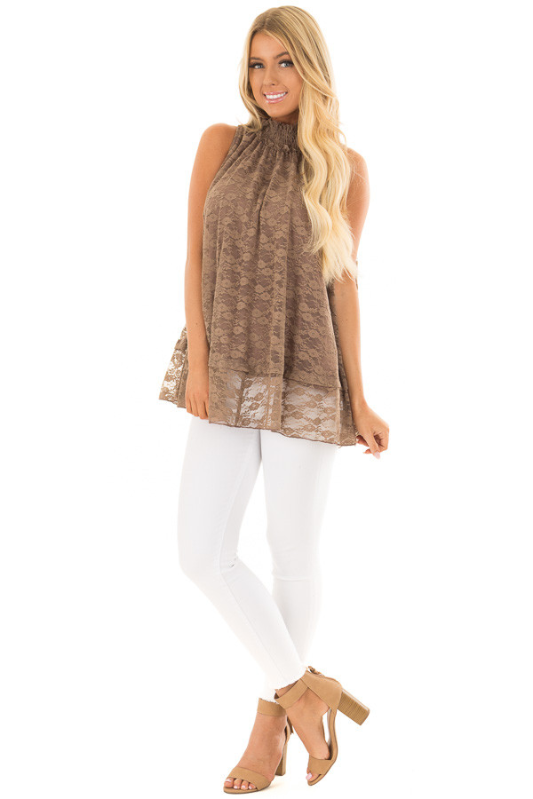 Mocha Lace High Neck Tank Top front full body