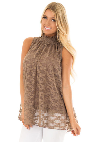 Mocha Lace High Neck Tank Top front close up