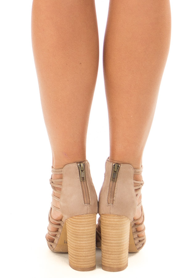 Taupe Faux Suede Strappy High Heels with Knot Details back view