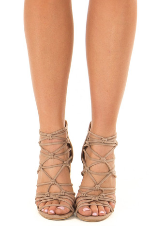 Taupe Faux Suede Strappy High Heels with Knot Details front view