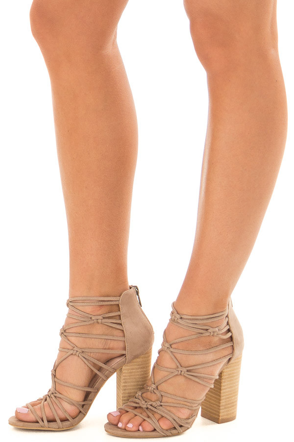 Taupe Faux Suede Strappy High Heels with Knot Details front side view