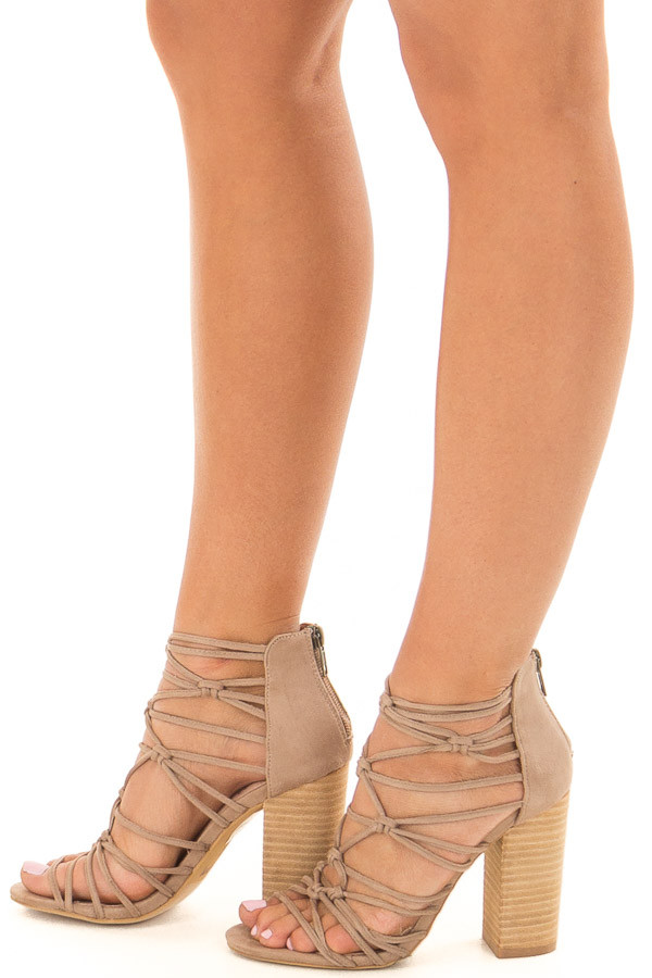 Taupe Faux Suede Strappy High Heels with Knot Details side view