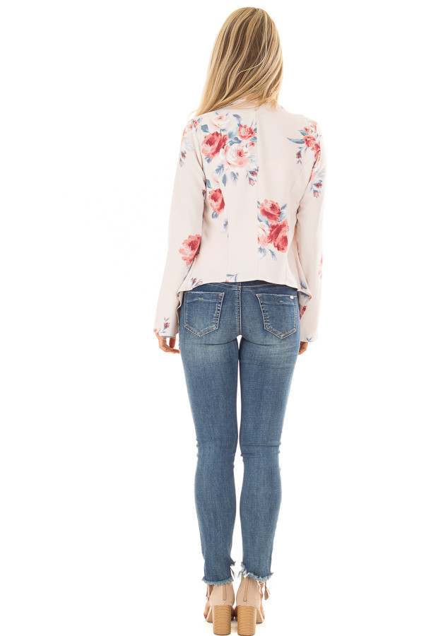 Blush Floral Print Drape Cardigan back full body
