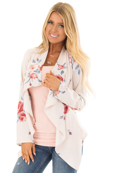 Blush Floral Print Drape Cardigan front close up