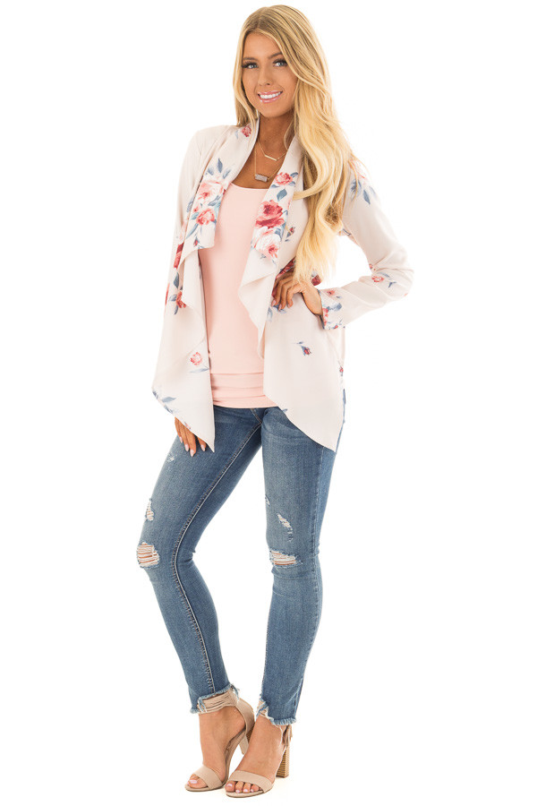 Blush Floral Print Drape Cardigan front full body