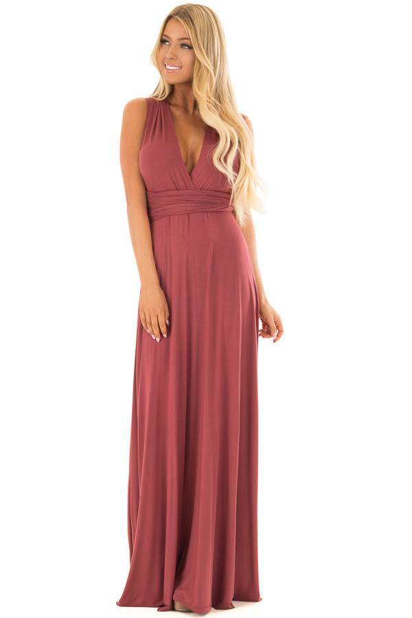 Brick Slinky Maxi Dress with Wrap Tie Waist Belt front full body