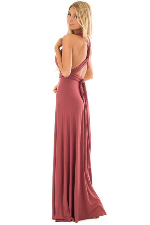Brick Slinky Maxi Dress with Wrap Tie Waist Belt side full body