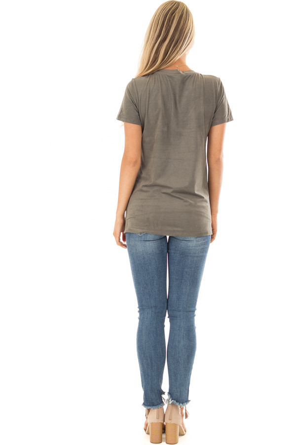 Forest Green Faux Suede Top with Front Pocket back full body