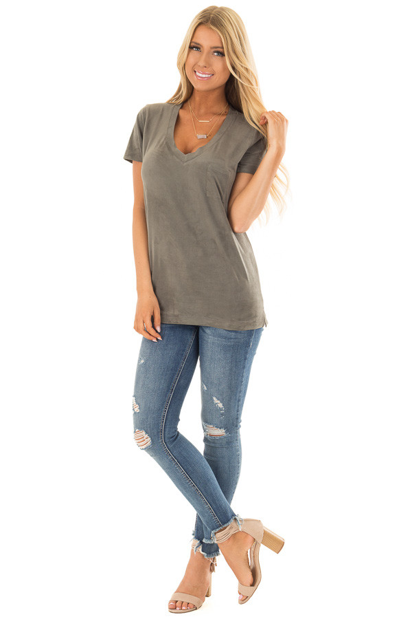Forest Green Faux Suede Top with Front Pocket front full body
