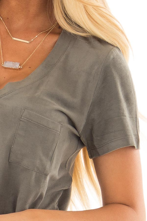 Forest Green Faux Suede Top with Front Pocket detail