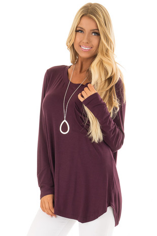 Wine Long Sleeve Top with Split Open Back front close up