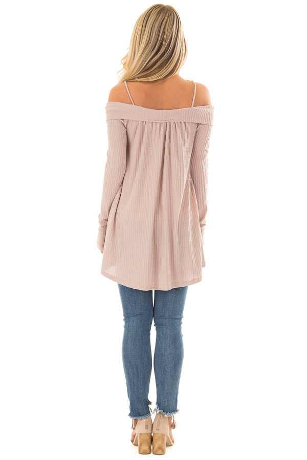Dark Mauve Waffle Knit Criss Cross Top with Bare Shoulders back full body