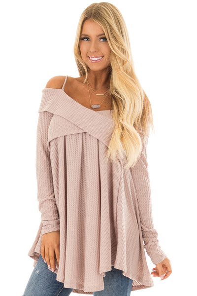 Dark Mauve Waffle Knit Criss Cross Top with Bare Shoulders front close up