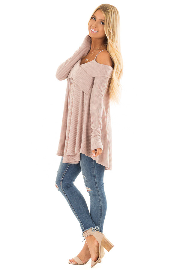 Dark Mauve Waffle Knit Criss Cross Top with Bare Shoulders side full body