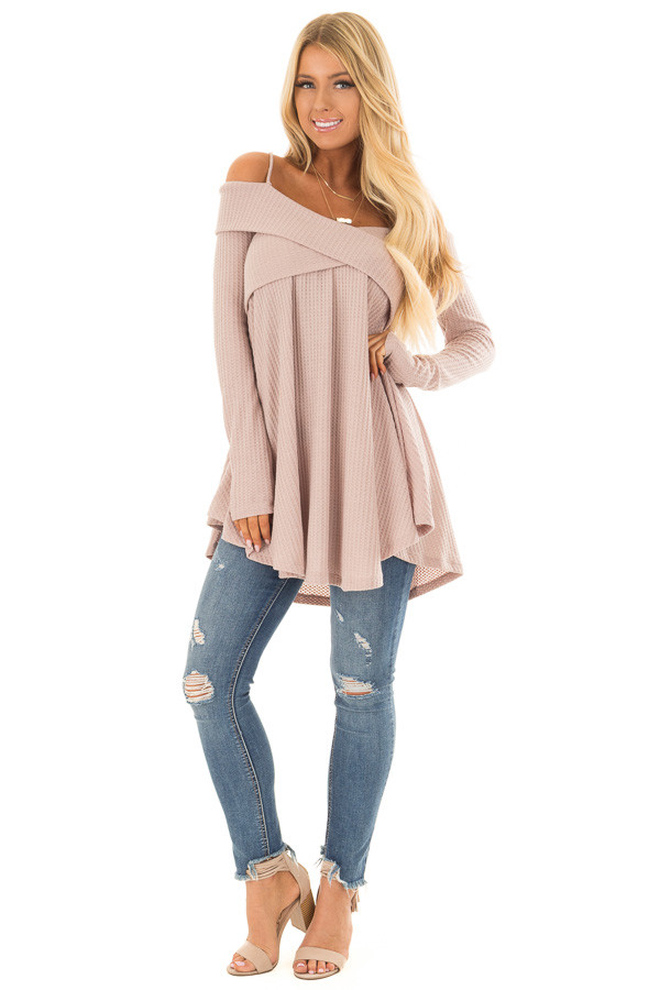 Dark Mauve Waffle Knit Criss Cross Top with Bare Shoulders front full body