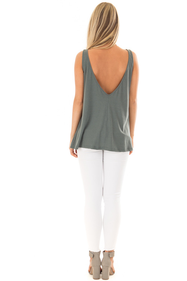 Forest Green Low Back Tank Top back full body