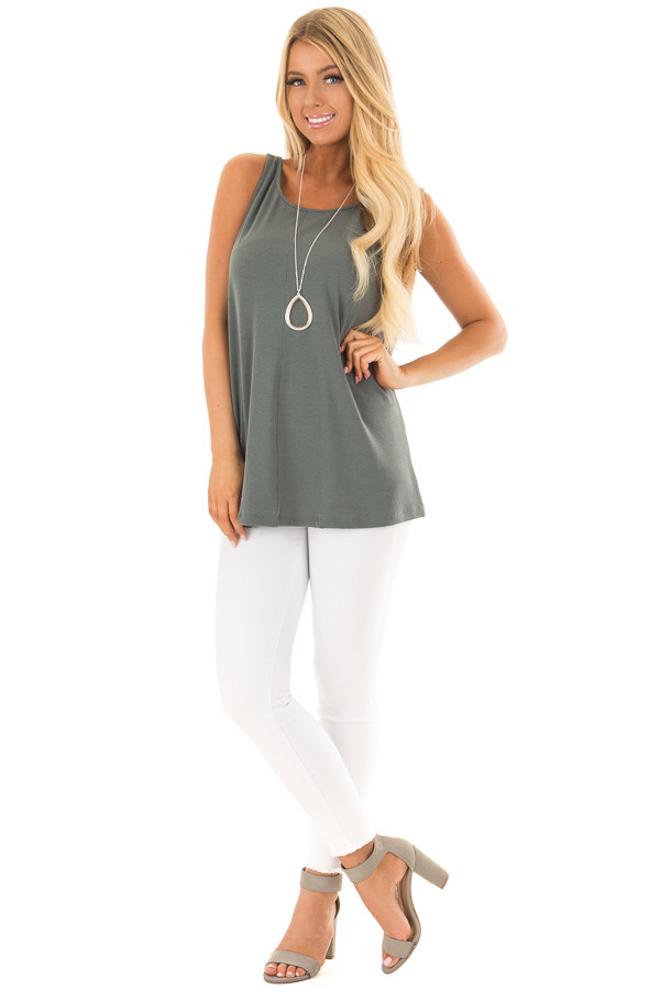 Forest Green Low Back Tank Top front full body