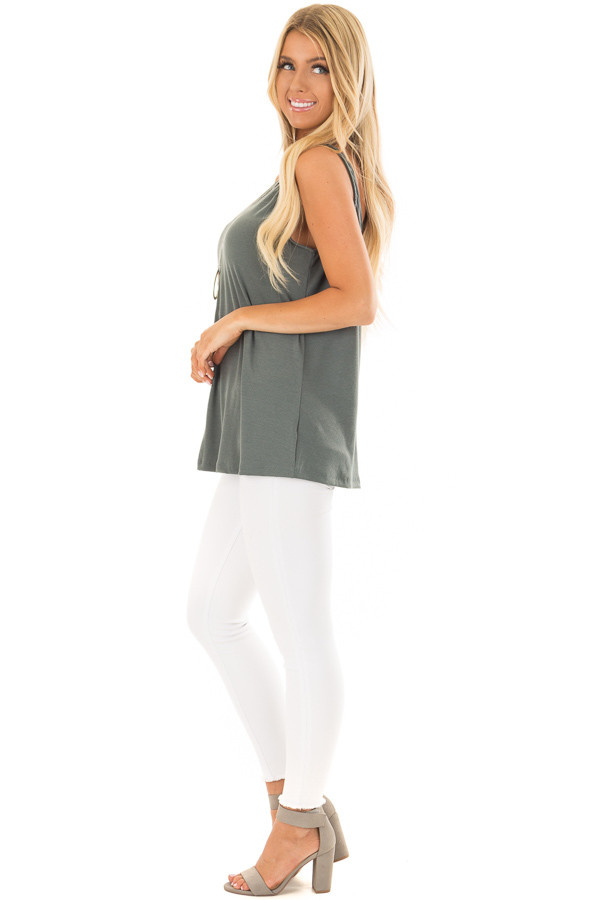 Forest Green Low Back Tank Top side full body