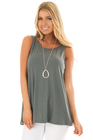 Forest Green Low Back Tank Top front close up