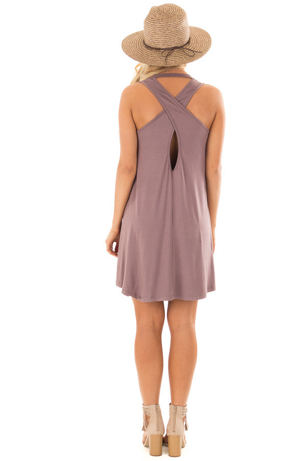 Ash Violet Tank Top Dress with Cross Over Back back full body