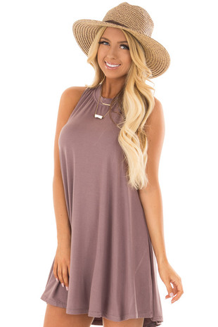 Ash Violet Tank Top Dress with Cross Over Back front close up