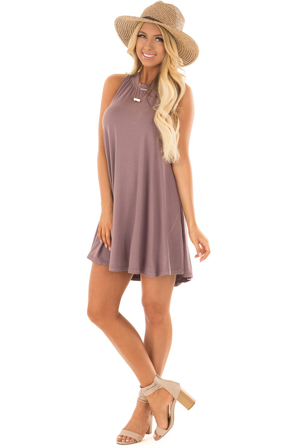 Ash Violet Tank Top Dress with Cross Over Back front full body