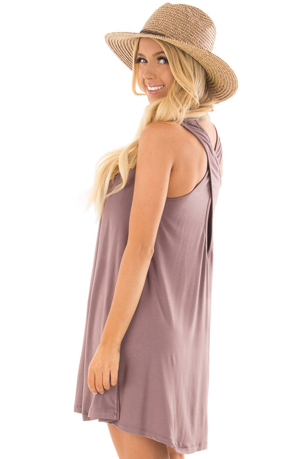 Ash Violet Tank Top Dress with Cross Over Back side close up