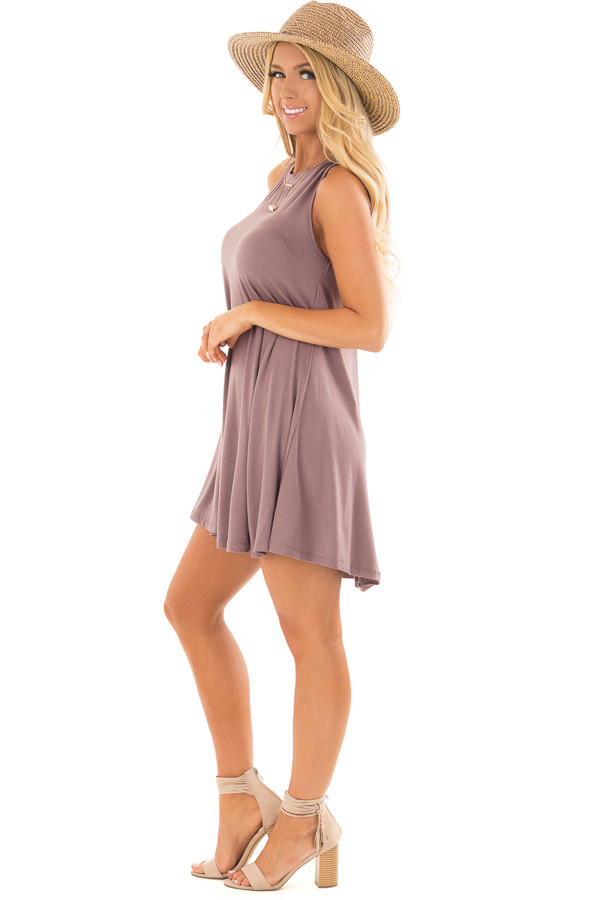 Ash Violet Tank Top Dress with Cross Over Back side full body